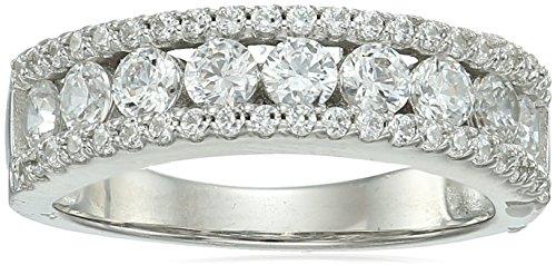 (Platinum-Plated Sterling Silver Swarovski Zirconia Round Three Row Ring, Size 7)