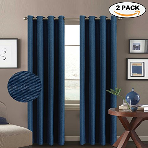 H.Versailtex Room Darkening Thermal Insulated Textured Linen Curtains for Living Room,Antique Metal Grommet Window Drapes,52 by 96 - Inch (2 Panels Set) - Dark Blue (2 Room Metal Divider Panel)