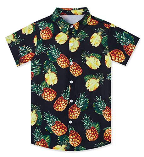 (Big Boy's Pineapple Hawaiian Shirt Cool Button Down Dress Shirts 13/14 Yrs Hibiscus 3D Graphic Ananas Island Aloha Tees Summer Tropical Black Short Sleeve Sun Surf Luau Clothes for Kids)