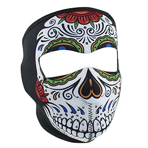 Zanheadgear Muerte Sugar Skull Day of Dead Rainbow Colors Reversible to Black Neoprene Full Face Mask