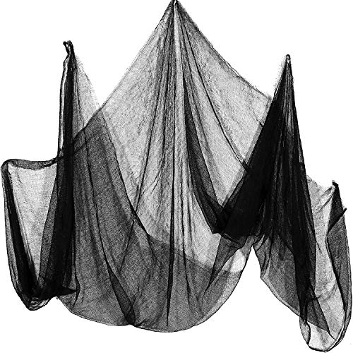 Tatuo 2 Pack Black Creepy Cloth with 5 Pack Spider Web and 10 Pieces Plastic Spider Scary Spooky Halloween Decoration