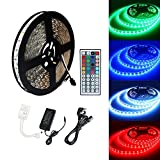 ECOLUX 10M 5050 RGB 600Led Color Changing Led Strips with 44 key IR Remote+24V 6A AC UK Plug Adapter Power Supply for Home lighting and Kitchen Decorative