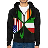 M-J92 Italian Irish American Shamrock Drawstring Pockets Pullover Hoodie Hooded Sweatshirt