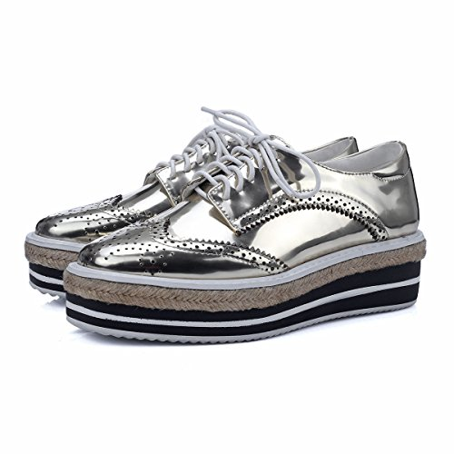 Minivog Plataforma Wingtips Square Toe Mujer Oxfords Shoe Gold