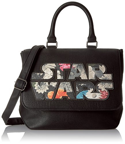 Loungefly Women's Star Wars Floral Applique Logo Crossbody Bag with Handle and Strap, Black