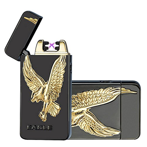 Kivors USB Rechargeable Flameless Electronic Dual Pulse Arc Cigarette Lighter Belief, Black (Black Cigarette Lighter)
