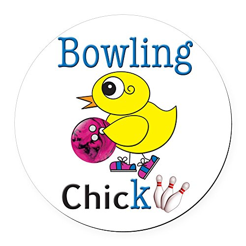 - CafePress - Bowling Chick - Round Car Magnet, Magnetic Bumper Sticker