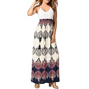 Women's Braces Skirt Sleeveless Sexy Backless Printing Long Maxi Dress,X-Large