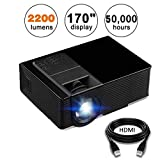 Projector, KUAK Mini Projector 2200 Lumens 170'' Display, Portable Multimedia Home Theater LED Video Projector Support HD 1080P HDMI VGA USB SD AV TV for Smartphone Laptop Fire TV Stick etc, HT50 Black
