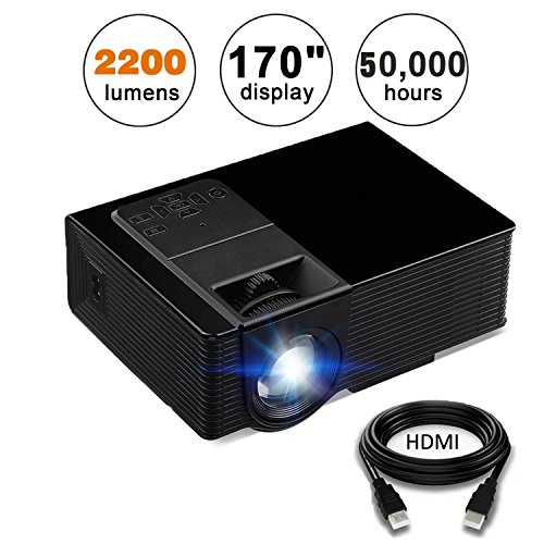 Projector, KUAK Mini Projector 2200 Lumens 170'' Display, Portable Multimedia Home Theater LED Video Projector Support HD 1080P HDMI VGA USB SD AV TV for Smartphone Laptop Fire TV Stick etc, HT50 Black by KUAK