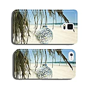 a glass christmas ball hangs from a tree at the beach cell phone cover case Samsung S6