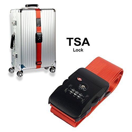 Xunbin TSA travel luggage belt, adjustable travel triple combination TSA lock luggage luggage belt belt leather fine lines nylon (Orange) by Xunbin