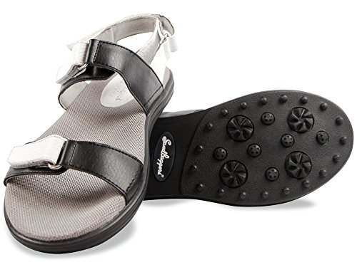 Sandbaggers Lola Women's Golf Sandal (Black & White, (Sandbaggers Womens Shoes)