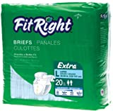 FitRight Extra Adult Briefs with Tabs, Moderate Absorbency, Large, 48''-58'' (Pack of 20)