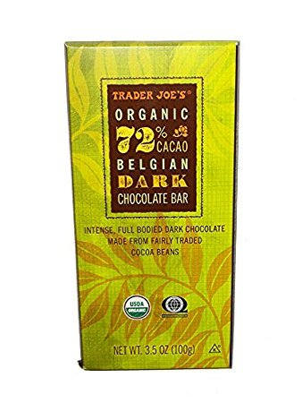 Trader Joe's Fair Trade Organic 72 % Cacao Belgian Dark Chocolate Bar ( pack of 2)