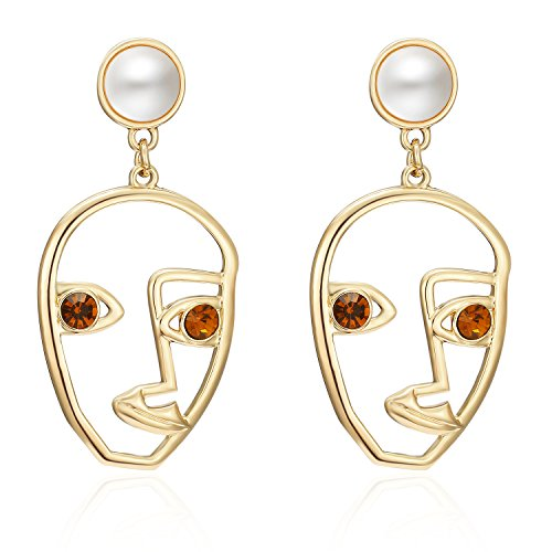 LILIE&WHITE Statement Geometric Face Ethnic Earrings Skull Head Earrings for Women Cool Party Accessories ()