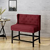 Christopher Knight Home 304380 Paulina Winged Tufted Fabric 2 Seater 28″ Barstool, Deep Red + Dark Brown Review