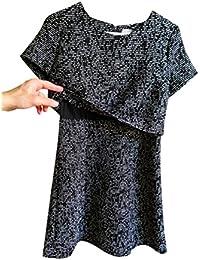 Black & White Beaded Short Sleeved Dresses 12 Large Scoop Neck