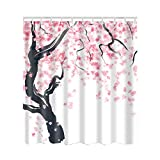 Cherry Blossom Shower Curtain Artown Cherry Blossom Shower Curtain, Oriental Asian Simplistic Stylized Artwork with Pink Black Watercolor 3D Digital Painting Effect, Japanese Eco-Friendly Home Decor with 12 Hooks, 72 Inches Long
