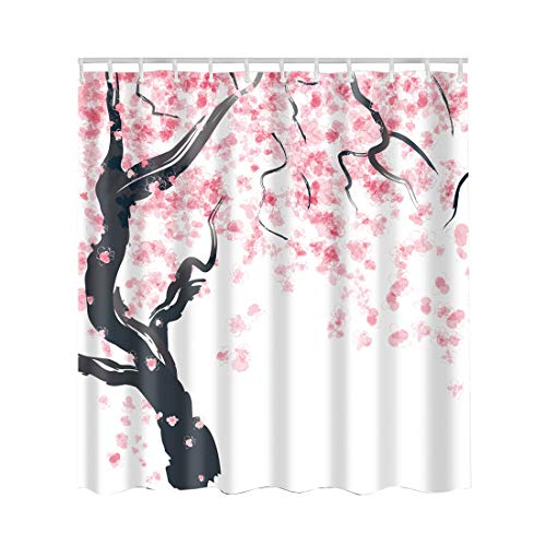 Artown Cherry Blossom Shower Curtain, Oriental Asian Simplistic Stylized Artwork with Pink Black Watercolor 3D Digital Painting Effect, Japanese Eco-Friendly Home Decor with 12 Hooks, 72 Inches Long