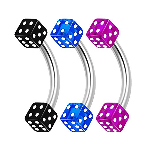 (3PCS Surgical Steel Curved Barbell Bar 16 gauge 5/16 8mm 3mm Dice Eyebrow Snake Bite Earrings Cartilage Piercing Jewelry 1679)