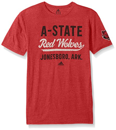 NCAA Arkansas State Red Wolves Adult Men Stenciled Sweep Tri-Blend S/Tee, Large, Power Red Heathered