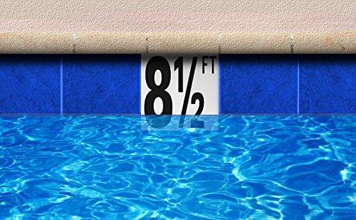Ceramic Swimming Pool Waterline Depth Marker 5 Ft Smooth Finish 5 Inch Font Software Digital