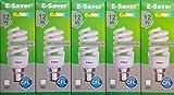 Pack of 5, E-Saver CFL Full Spiral, 12w = 60 watt, Warm White 2700k, Compact Fluorescent Lamp, Bayonet Cap (BC, B22, B22d) 600 Lumen, T2, 80%-85% Energy Saving Light Bulb, Flicker Free, 10,000 Hours Life Time