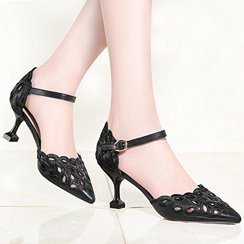 Party Talons Femmes Mariage Boucle Chaussures Haute De Chaussures De Court Bout Pointu Dames Prom Stiletto Mariée Black wwfHS7q