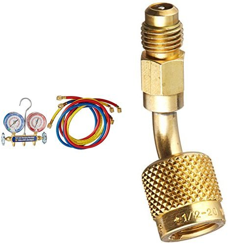 Yellow Jacket 42004 Series 41 Manifold with 3-1/8'' Gauge, psi, R-22/404A/410A and  19173 5/16'' Female Quick Couplers x 1/4'' Male Flare bundle