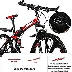 JXH-Mountain-Bike-Bicicletta-Pieghevole-Sospensione-26inch-24-velocit-Doppio-Freno-a-Disco-Antiscivolo-Totale-Leggero-Telaio-in-Alluminio-Forcella-della-Sospensione24in