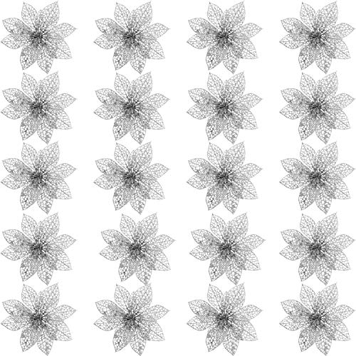 Poinsettia Silver - SATINIOR 20 Pieces Glitter Christmas Tree Ornaments Artificial Wedding Christmas Poinsettia Flowers for Festival Decoration (Silver)