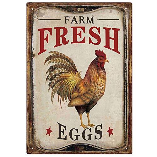 M-Mount Tin Signs Vintage Designs Farm Fresh Organic Eggs Retro Bar Sign Country Home Decor Wall Decor Indoors Metal Coffee Art Poster 8x12Inch (Art Wall Egg Little)