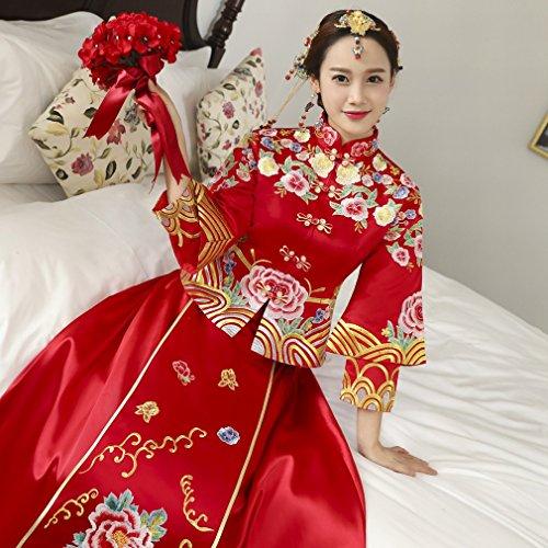 Xiu Di UN Sposa DIDIDD Cheongsam Vestiti Nozze Cinese Nuziale Wo Rosso Cerimonia Di Brindisi Longfeng Vestito Giacca Sezione M Lunga UIdqFd