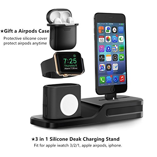 761970b3a5e LEWOTE 3in1 Silicone Charging Stand Dock Compatible for Apple  Watch/Airpods/iWatch/iPhone