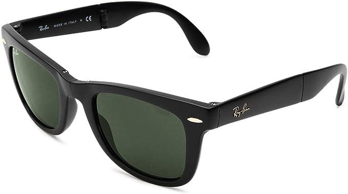 Ray-Ban Folding Wayfarer - Gafas de sol para hombre, Negro/Verde (Black Frame/Green G-15XLT Lens)