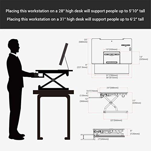 Loctek - Height Adjustable Standing Desk 36'' Wide Platform, Removable Keyboard Tray with Power Strip Holder & USB Port (PL36B) by Loctek (Image #4)