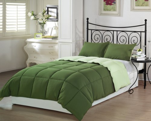 Chezmoi Collection Down- Down-Green-Queen Comforter Set, Full/Queen, Full/Queen