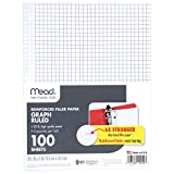 MATENIX Filler Paper, Loose Leaf Paper, Graph Ruled Paper, Q4, 100 Sheets, 10-1/2″ x 8″, Reinforced, White, 3 Pack