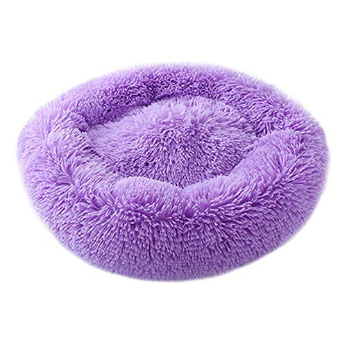 Bed Luxury Donut Dog (Round Cat and Dog Cushion Bed Luxury Shag Fur Donut Pet Bed Self-Warming Indoor Pet Pillow Cuddler Extra Soft Comfortable Pet Bed Sofa Plush Cats Dogs Nest Bed Cushions (50CM,Purple))