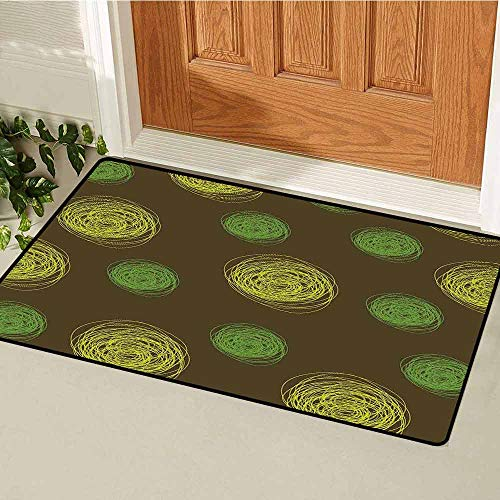 Gloria Johnson Funny Front Door mat Carpet Round Doodles Spots in Green Tones Spirals Swirled Big Funky Dots Pattern Machine Washable Door mat W29.5 x L39.4 Inch Chocolate Lime Green (Dog Won T Poop In The Snow)