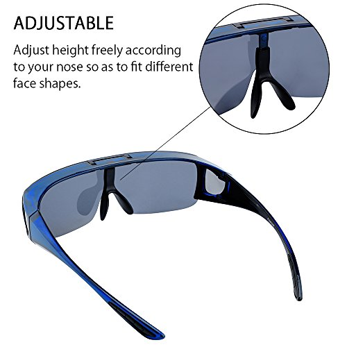 TINHAO Mens Polarized Flip Up Fitover Sunglasses with Mirrored Lenses (Blue, Blue) by TINHAO (Image #4)