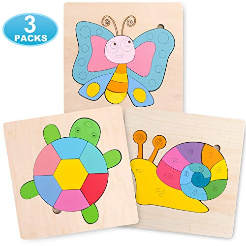LAIQWEN Wooden Animal Jigsaw Puzzles for Toddlers 1 2 3 Years Old, Boys &Girls Educational Toys Gift with 3 Pack Animals Patterns, Bright Vibrant Color Shapes. (Animal Shapes Puzzle)