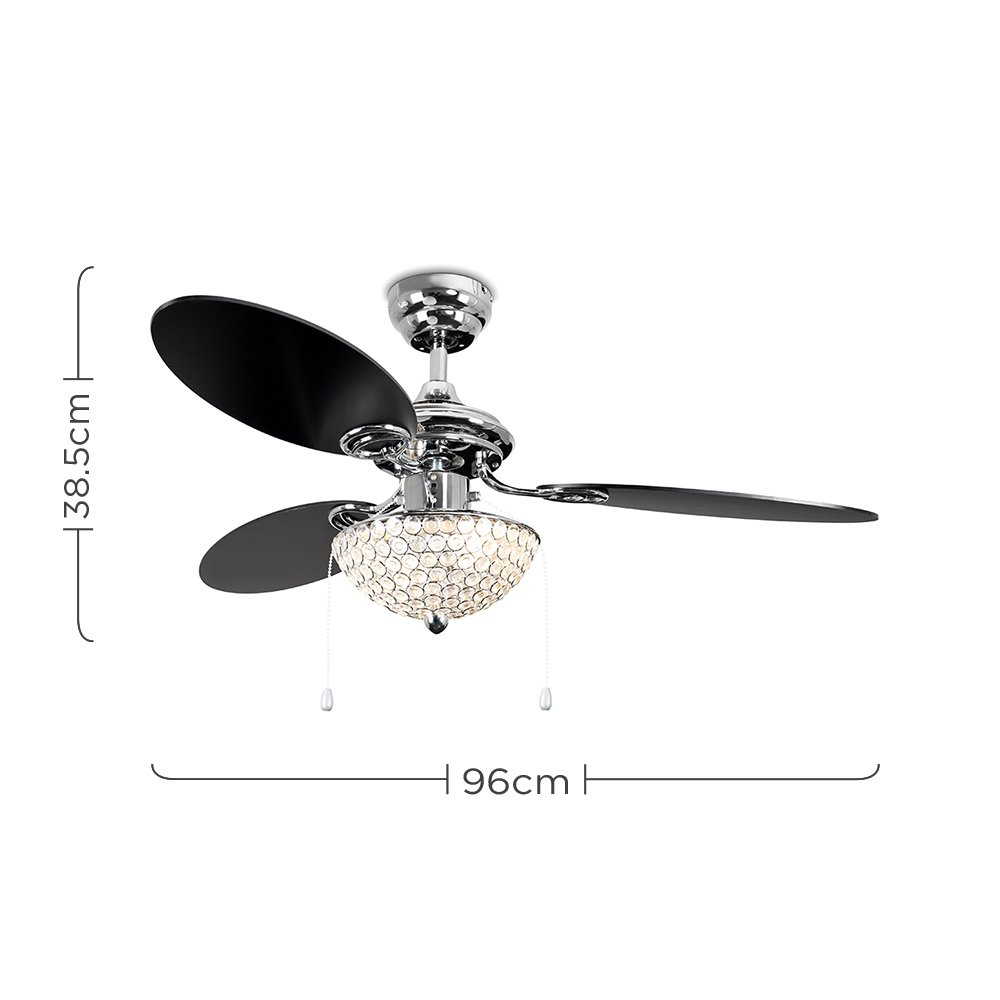 Minisun 42 106cm Modern Chrome Ceiling Fan With Silver Black Brushed Satin Light Pull Cord Switch Amazoncouk Lighting Reversible Blades Clear Acrylic Jewel Shade Switches