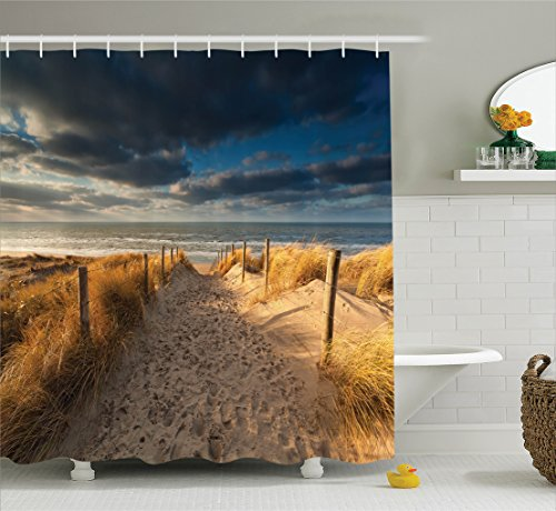 Ambesonne Seaside Decor Collection, Sand Path to North Sea Beach Zandvoort Netherlands Sunshine Dark Clouds Shadows Image, Polyester Fabric Bathroom Shower Curtain Set with Hooks, Ivory Dimgray ()