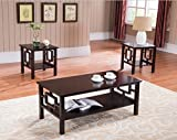 Cherry Wood Coffee Table Kings Brand Furniture T92 3PK 3 Pc. Wood Coffee 2 End Tables Occasional Set, Cherry