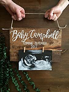 Baby Reveal Wood Sign Baby Announcement Pregnancy Announcement New Baby Parents to be Wood Sign Baby Nursery Reveal Wood Sign