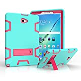 Samsung Galaxy Tab A 10.1 Case,Jeccy 3in1 Full-body Shock Proof Hybrid Heavy Duty Armor Defender Protective Case,Silicone Skin Hard Plastic Aqua/Rose Case for Samsung Tab A 10.1 P580/P585