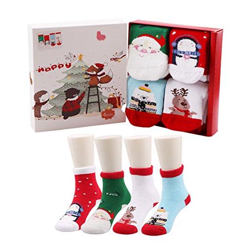 Christmas Socks - Baby Toddler Christmas Socks,Winter Warm Soft Cozy Socks(4 Pairs) (1-3 years)