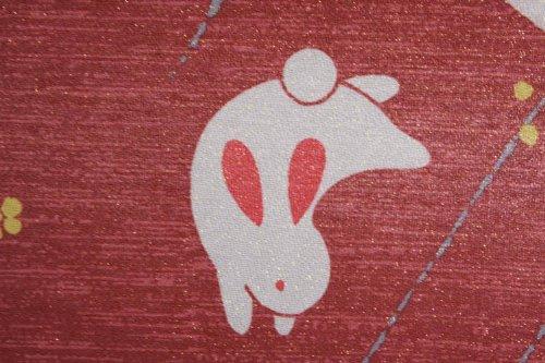 Japanese Noren W:85cm(33.46in) X H:150cm(59in) Rabbit Dark Red Lame Yarn by Narumi noren (Image #5)